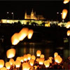 Lights above Prague celebrated the launch of the World March